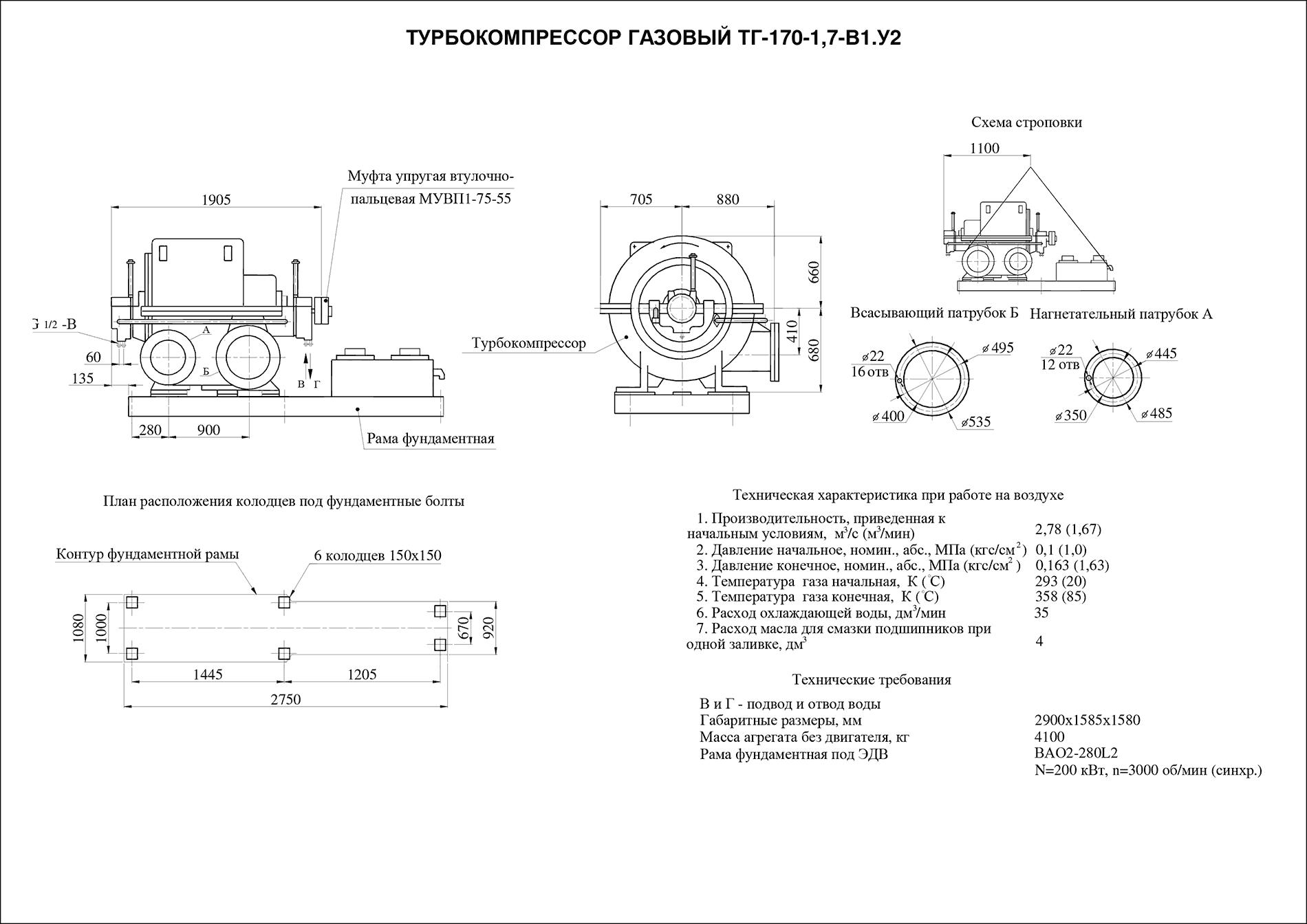 Турбокомпрессор многоступенчатый газовый ТГ-170-1,7-В1У2