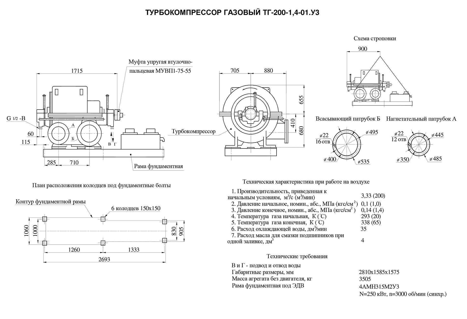 Турбокомпрессор многоступенчатый газовый ТГ-200-1,4-01У3