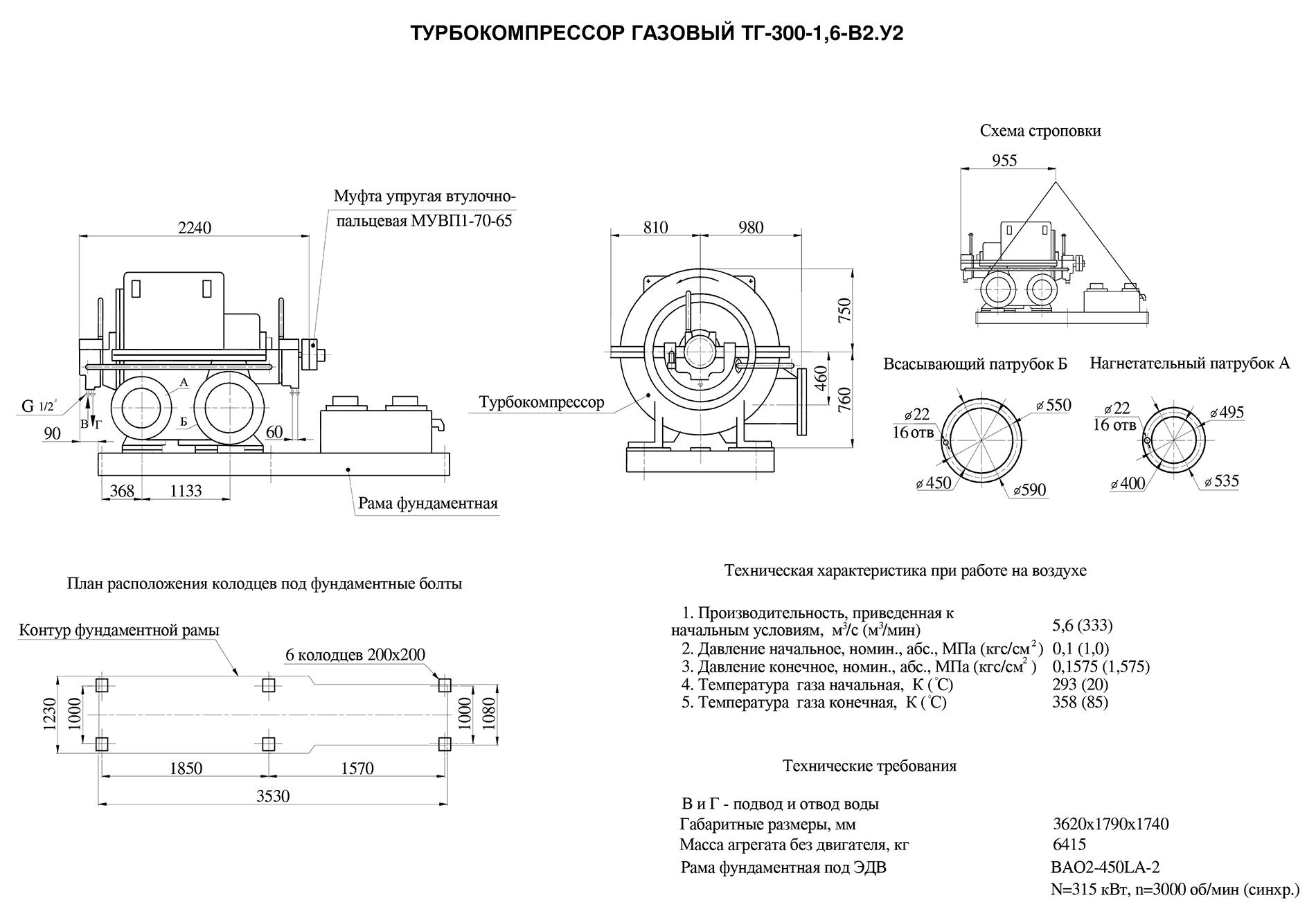Турбокомпрессор многоступенчатый газовый ТГ-300-1.6-В2У2