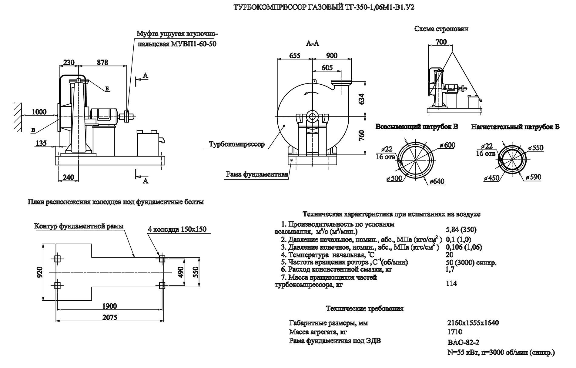 Турбокомпрессор одноступенчатый газовый ТГ-350-1,06М1-В1