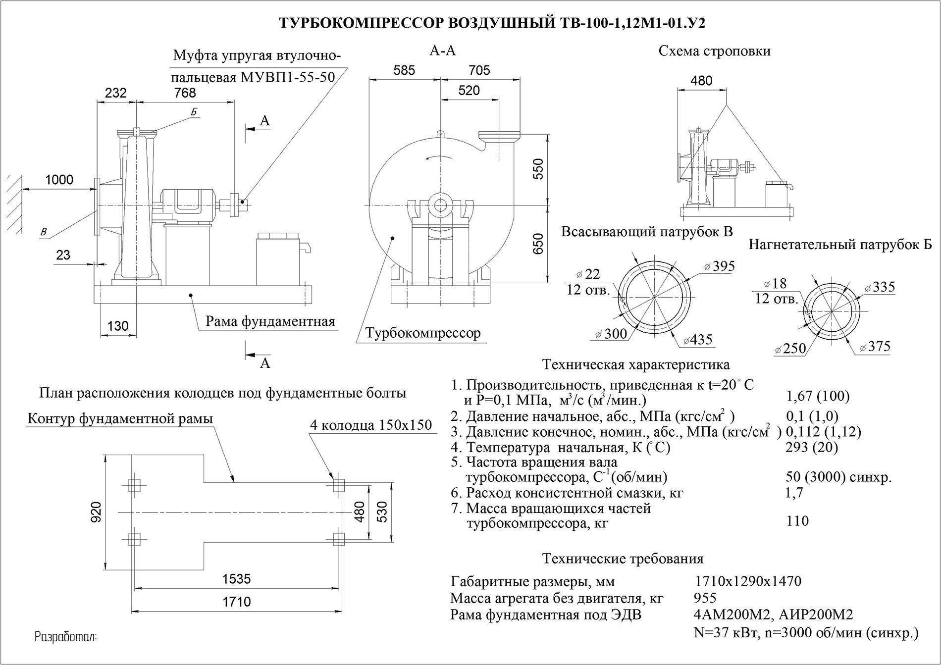 Турбокомпрессор одноступенчатый воздушный ТВ 100-1,12М1-01