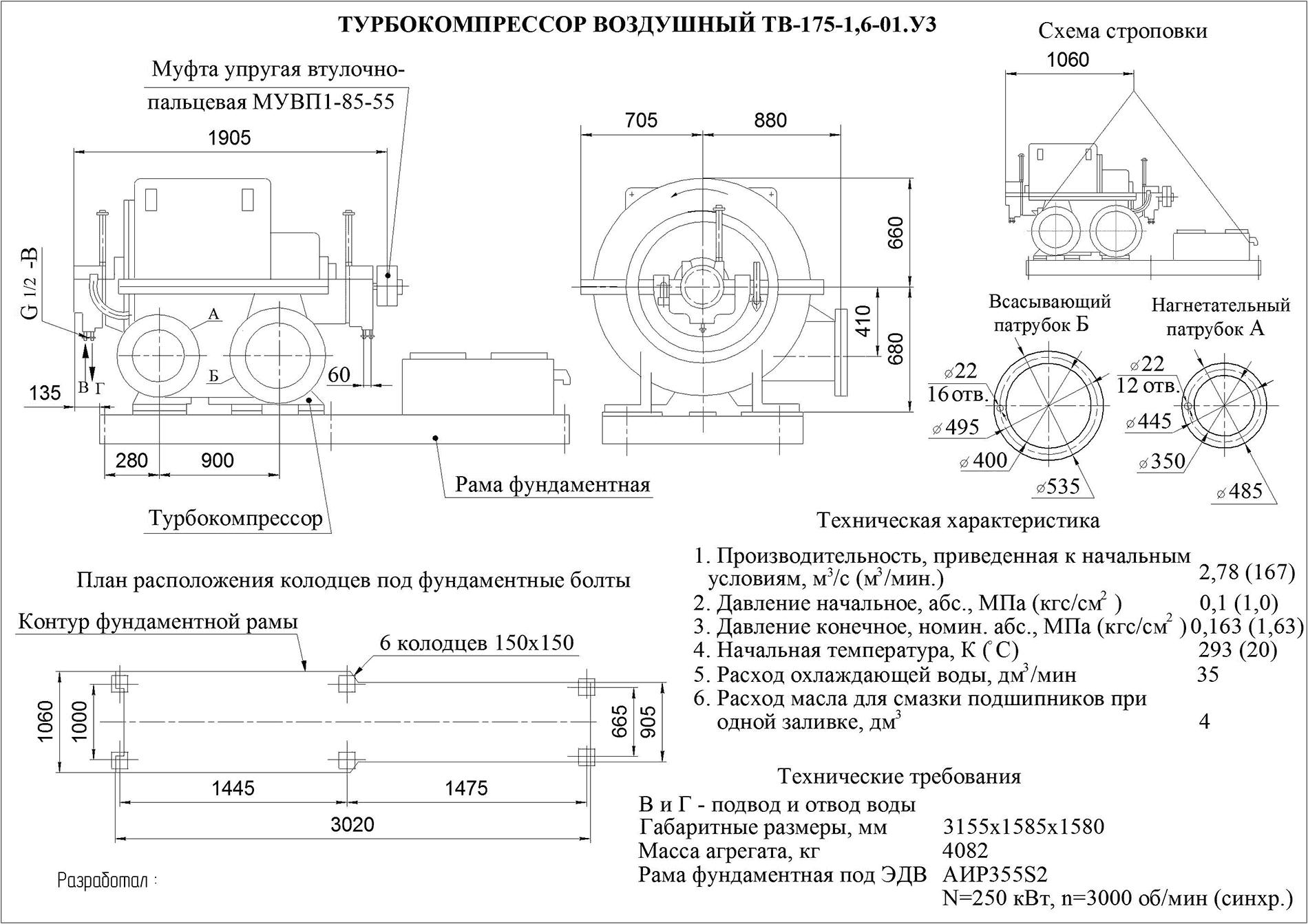 Турбокомпрессор многоступенчатый воздушный ТВ-175-1,6-01У3
