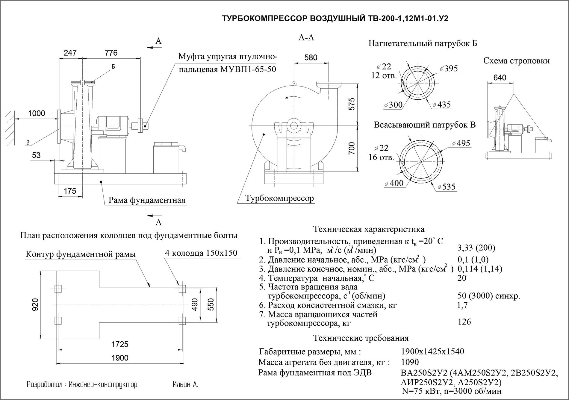 Турбокомпрессор одноступенчатый воздушный ТВ 200-1,12М1-01