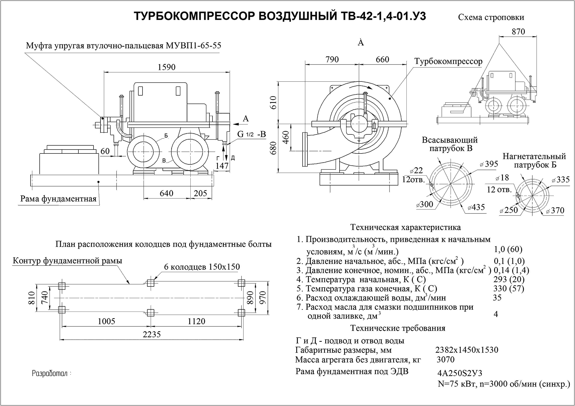 Турбокомпрессор многоступенчатый воздушный ТВ-42-1,4-01У3
