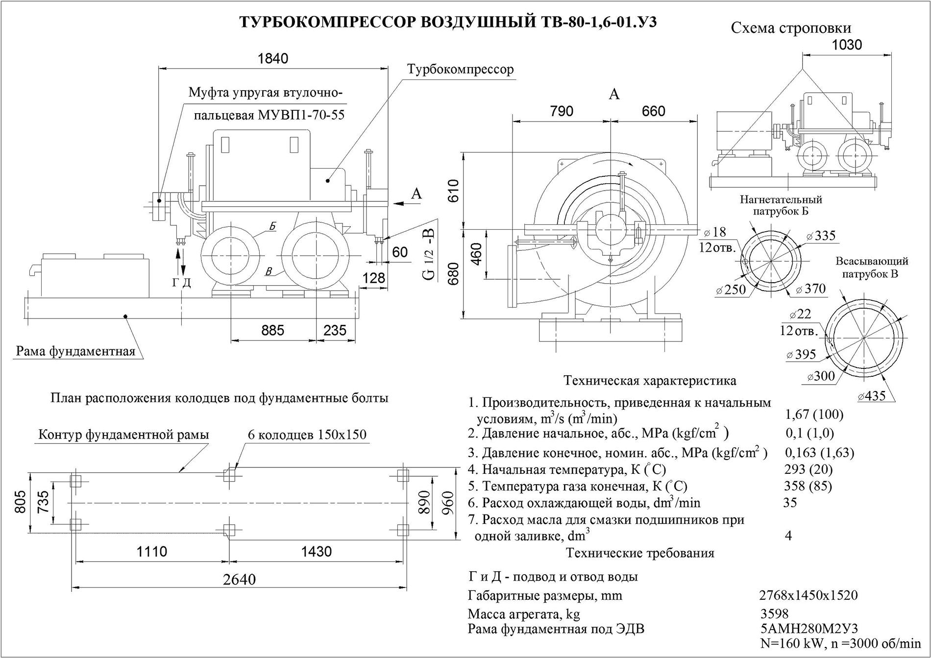 Турбокомпрессор многоступенчатый воздушный ТВ-80-1,6-01У3