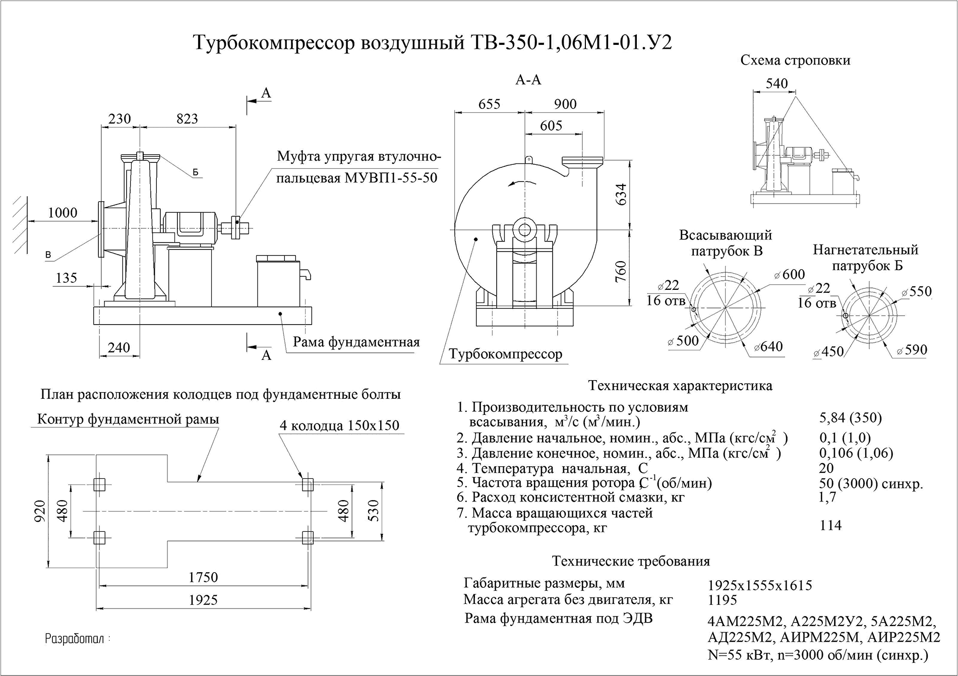 Турбокомпрессор одноступенчатый воздушный ТВ350-1,06М1-01